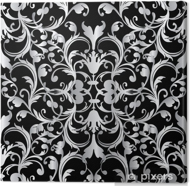 Baroque Seamless Pattern Floral Damask Black Background Wallpaper