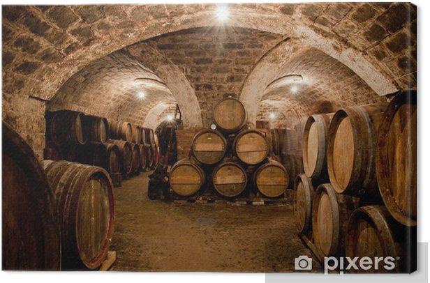 Barrels in a hungarian wine cellar Canvas Print - Alcohol