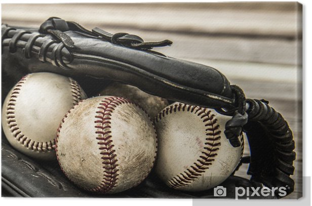 Baseball and mitt on rustic wooden background Canvas Print - Team Sports