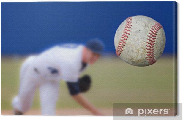 Baseball Pitcher Throwing ball, selective focus Canvas Print - Team Sports