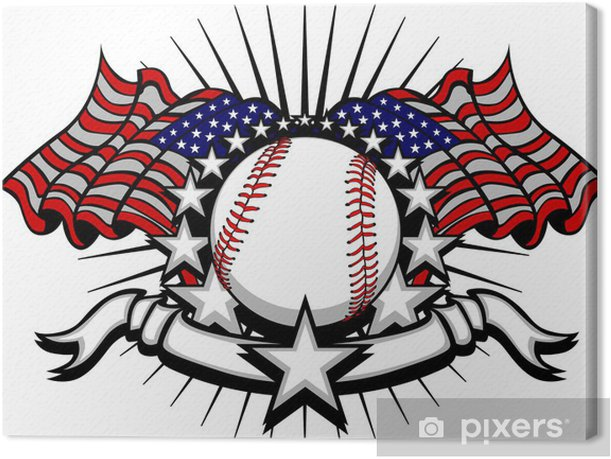 Baseball with Flags and Stars Canvas Print - Team Sports