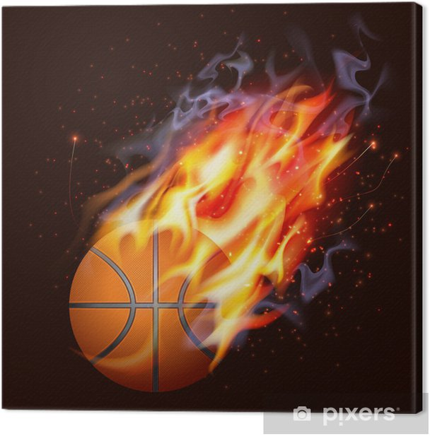 Basketball On Fire Canvas Print - Team Sports