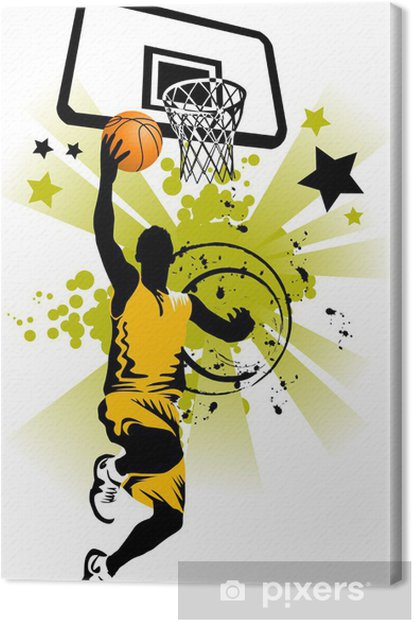 basketball player in yellow Canvas Print - Basketball