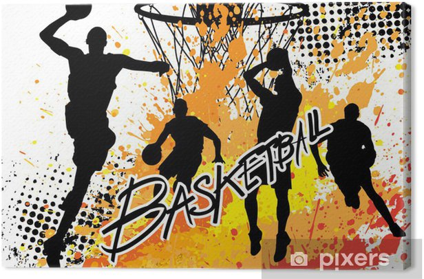 basketball player team on white grunge background Canvas Print - Team Sports