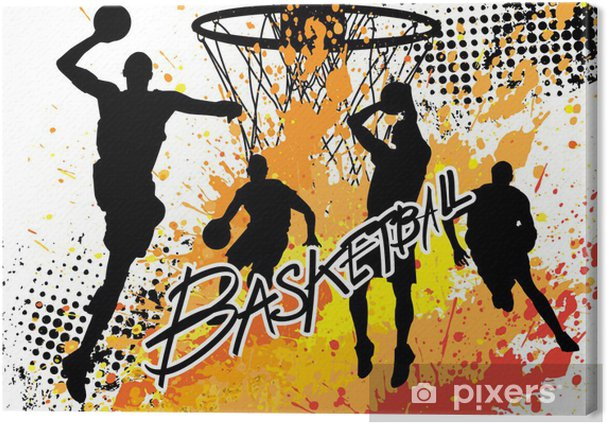 basketball player team on white grunge background Canvas Print - Team Sports