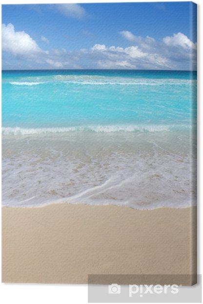 Beach Tropical Vertical Caribbean Turquoise Sea Canvas Print