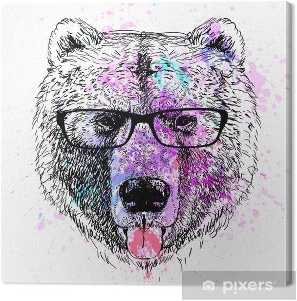 bear character colorful portrait Canvas Print - Lifestyle