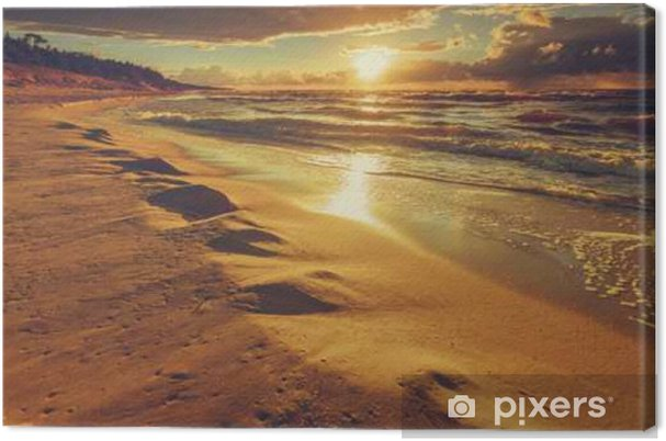 Beatiful sunset with clouds over sea and beach Canvas Print - Landscapes