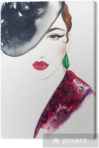 Beautiful face. woman portrait with hat. abstract watercolor .fashion background Canvas Print - Women
