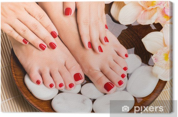 Beautiful female feet at spa salon on pedicure procedure Canvas Print - Lifestyle>Body Care and Beauty