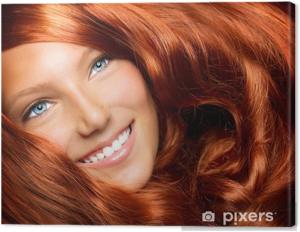 Beautiful Girl With Healthy Long Red Curly Hair Canvas Print - Teenagers