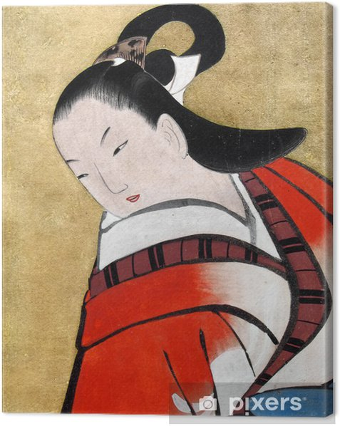 beautiful japanese woman wearing traditional kimon Canvas Print - Styles
