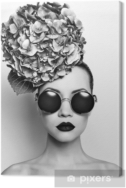 Beautiful lady with hydrangea Canvas Print - People