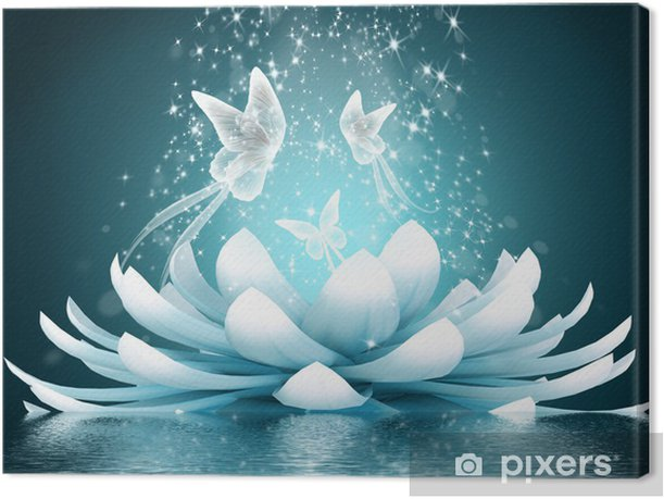 Beautiful lotus flower Canvas Print - Butterflies