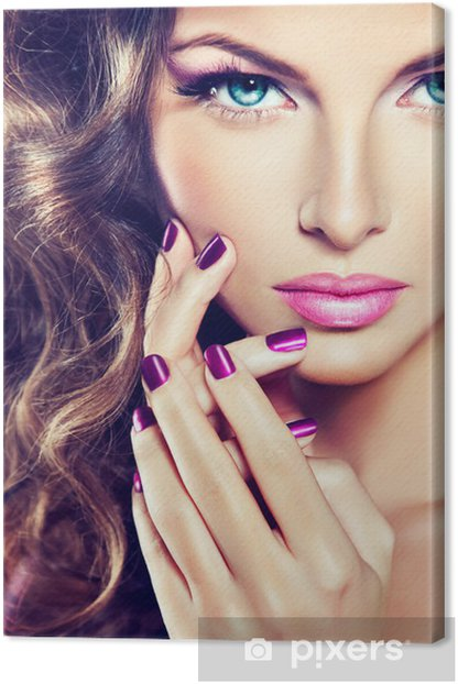 beautiful model with curly hair and purple manicure Canvas Print - Fashion