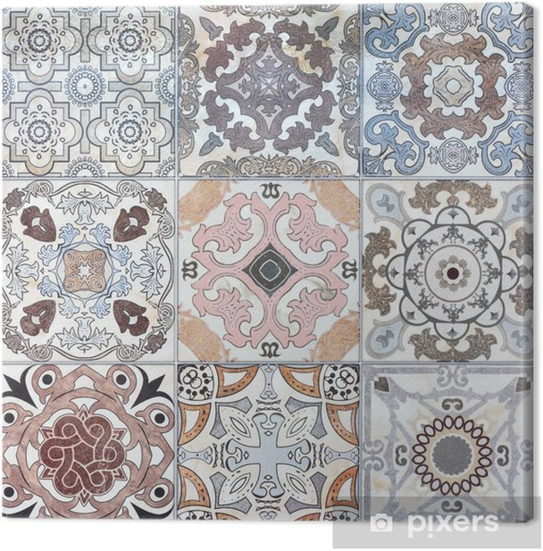 Beautiful old ceramic tile wall patterns in the park public. Canvas Print - iStaging