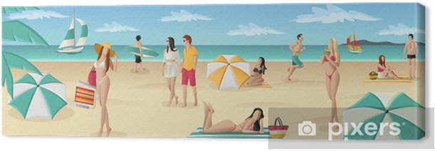 Beautiful people on tropical beach with blue ocean Canvas Print - Holidays