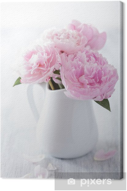 Beautiful Pink Peony Bouquet In Vase Canvas Print