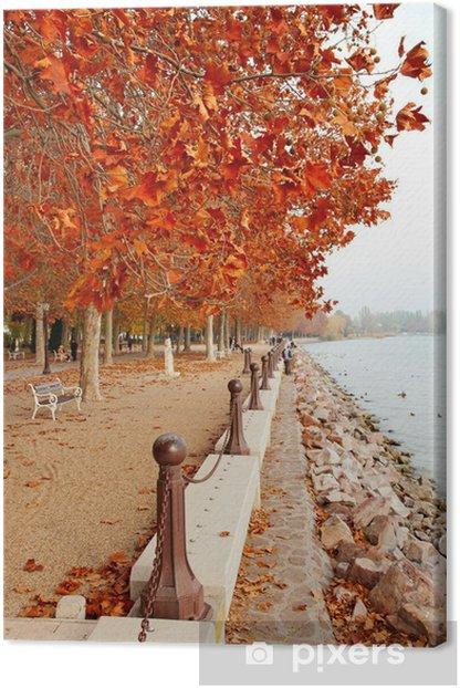 Beautiful promenade at Lake Balaton in autumn, Hungary Canvas Print - Seasons