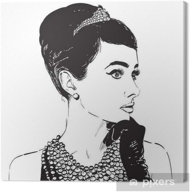 Beautiful retro woman. Copy space. In little black dress with a gloves. Canvas Print - People