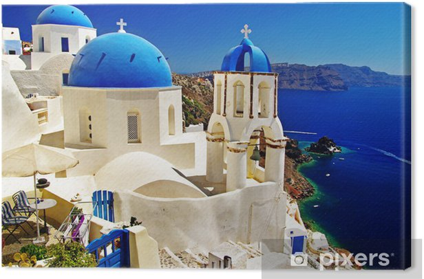 beautiful Santorini view of caldera with churches Canvas Print - Themes