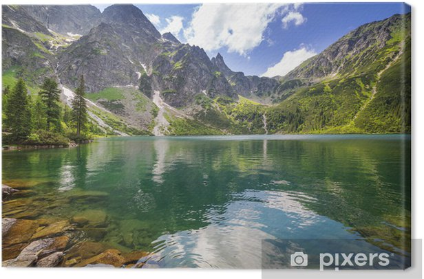 Beautiful scenery of Tatra mountains and lake in Poland Canvas Print - Themes