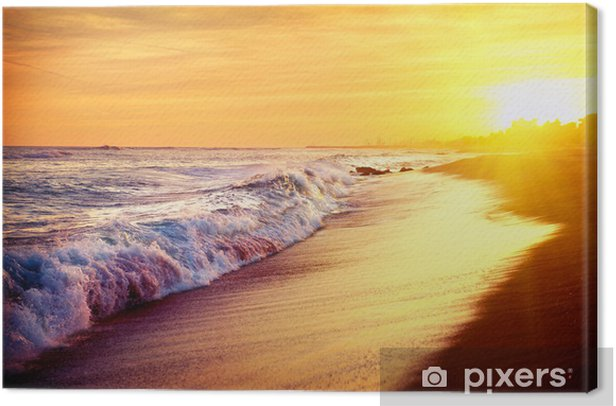 Beautiful Sea Sunset Beach. Mediterranean Sea. Spai Canvas Print - Themes