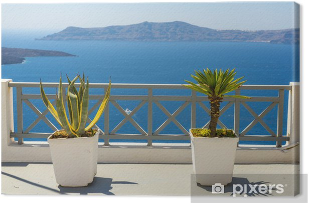 Beautiful Sea View From Fira In Santorini, Greece Canvas Print - Themes