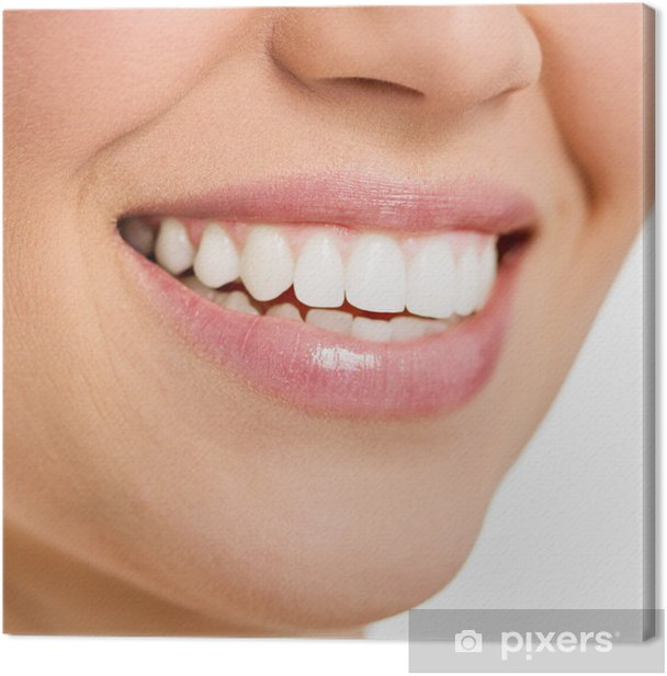 Beautiful smile of young female with white teeth, isolated Canvas Print - Body Parts