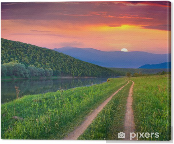Beautiful summer landscape on the mountain river. Sunrise Canvas Print - Seasons