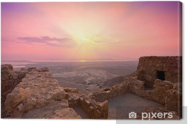 Beautiful sunrise over ancient Masada fortress in Israel Canvas Print - The Middle East