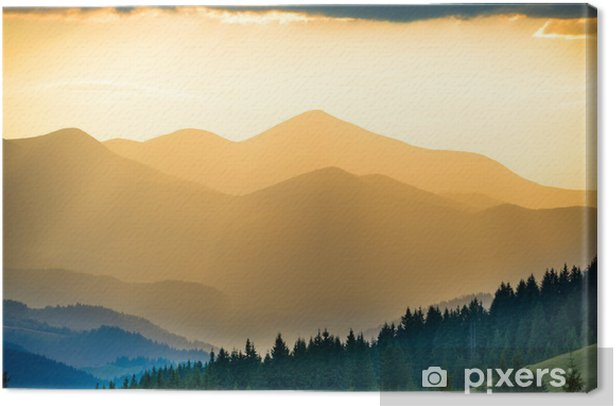 Beautiful sunset in the mountains Canvas Print - Relaxation