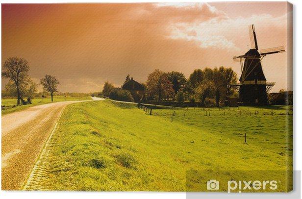 Windmills Holland Sunset Picture CANVAS WALL ART TREBLE Print