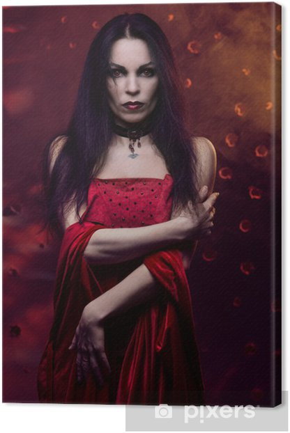 Beautiful vampire woman in red dress Canvas Print - International Celebrations