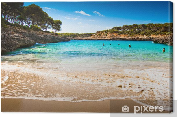 Beautiful view of Mediterranean beach with clear blue sky and se Canvas Print - Water