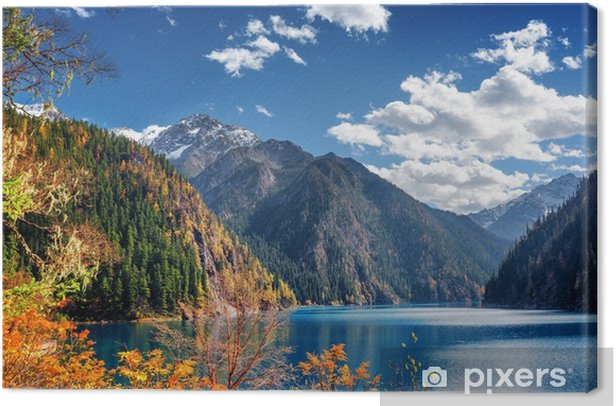 Beautiful view of the Long Lake among mountains and fall woods Canvas Print - Travel