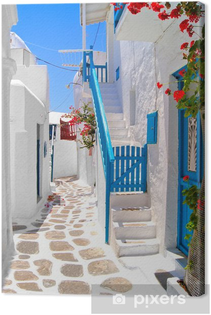 Beautiful white streets of Mykonos, Greece Canvas Print - Themes