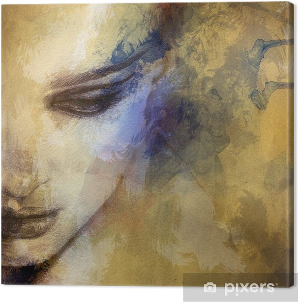 Beautiful woman face. watercolor illustration Canvas Print - Styles