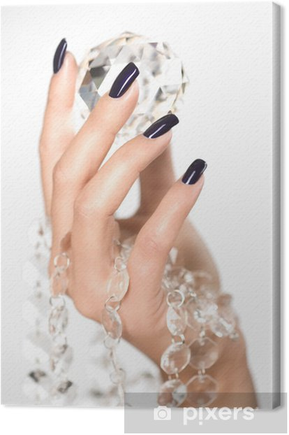 Beautiful woman hands with big diamond Canvas Print - Success and Achievement