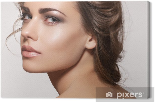 Beautiful woman model with fashion makeup, wavy hairstyle Canvas Print - Themes