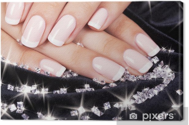 Beautiful woman's nails with french manicure and diamonds. Canvas Print - Lifestyle>Body Care and Beauty