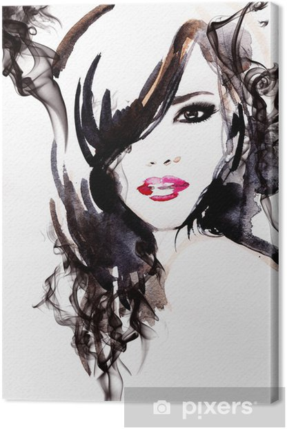 Beautiful woman. watercolor illustration Canvas Print - Styles