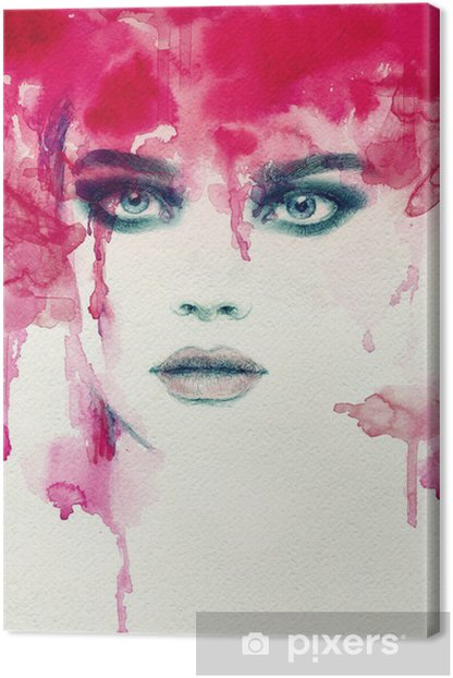 Beautiful woman. watercolor illustration Canvas Print - People