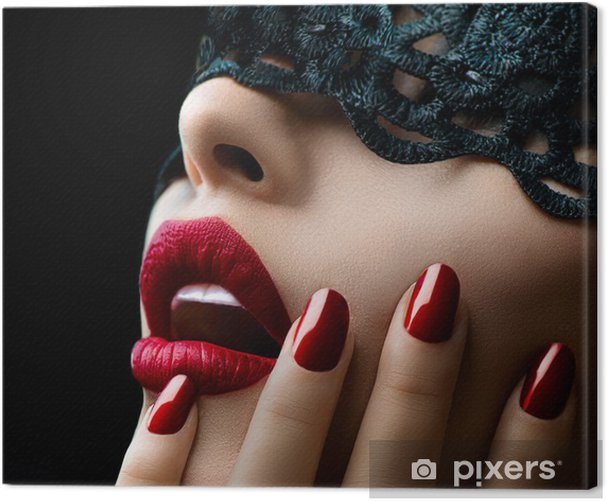Beautiful Woman with Black Lace mask over her Eyes Canvas Print - Styles
