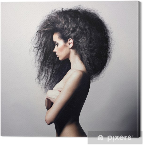 Beautiful woman with magnificent hair Canvas Print - Fashion