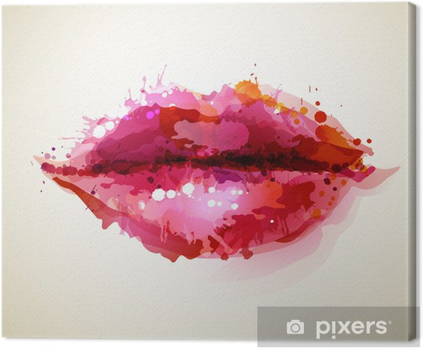 Beautiful womans lips formed by abstract blots Canvas Print -