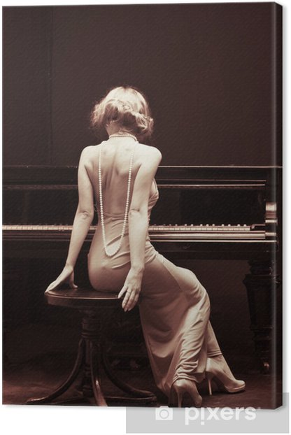beautiful young attractive woman in cocktail dress and piano Canvas Print - Piano