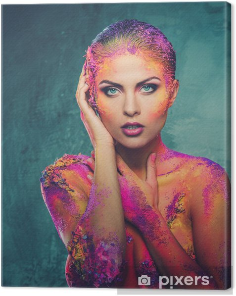 Beautiful Young Woman With Conceptual Colourful Body Art Canvas Print Pixers We Live To Change