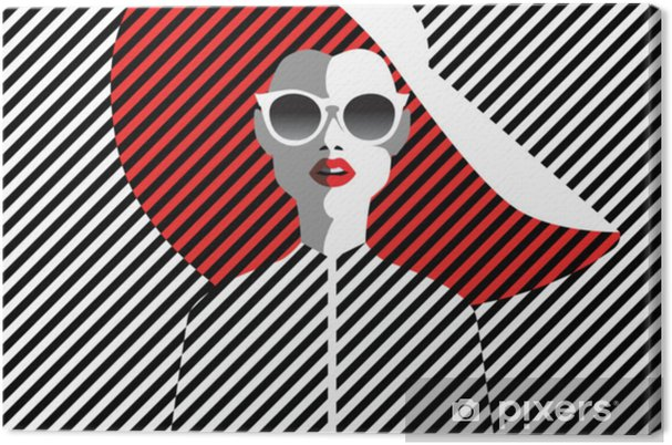 Beautiful young woman with sunglasses and hat, retro style. Pop art. Summer holiday. Canvas Print - People