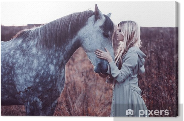 beauty blondie with horse in the field, effect of toning Canvas Print - Lifestyle
